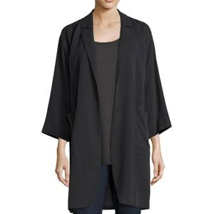 Black Woven Tencel Grain Notch Collar long jacket